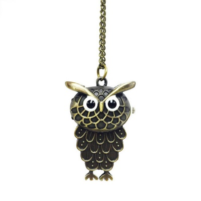 Owl Style Zinc Alloy Quartz Necklace Pocket Watch - Bronze