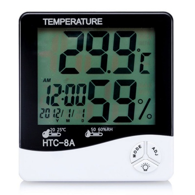 "HTC-8A 4"" LCD Luminous Temperature + Humidity Meter Clock - White"