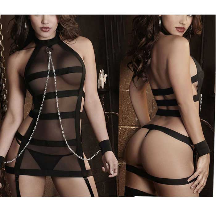 Sexy Bandage Tied Hands Temptations Siamese Sexy Lingerie - Black