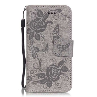 BLCR Butterfly Pattern PU + TPU Wallet Case for IPHONE SE/5S/ 5 - Gray