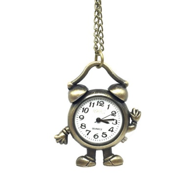 Alarm Clock Style Alloy Quartz Necklace Pocket Watch - Bronze