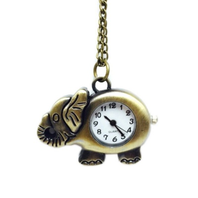 Elephish Style Zinc Alloy Quartz Necklace Pocket Watch - Bronze