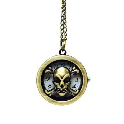 Skull Style Zinc Alloy Quartz Necklace Pocket Watch - Bronze