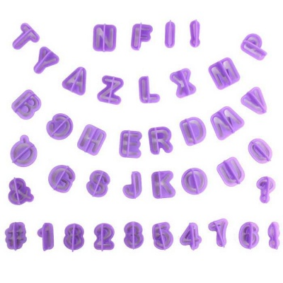 Letter Numbers Style DIY Baking Cake Mould - Purple (40pcs)