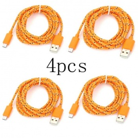 Micro USB / USB Nylon Braided Fabric Android Charger Data Cables (3m)