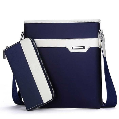 "2-in-1 Oxford Cloth 10"" Single Shoulder Bag + Wallet - Deep Blue"