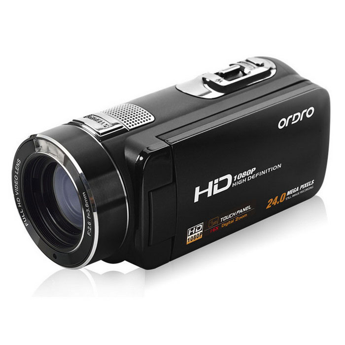 "Ordro HDV-Z8 PLUS  Digital Video Camera w/ 3"" Touch TFT Screen - Black"