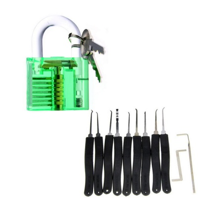 Practice Lock + Lock Picks Set - Transparent Green + Black