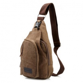 Men's Casual Canvas Sport Outdoor Backpack Crossbody Bag - Coffee