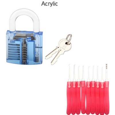 Acrylic Fine Locksmith Tool Set - Translucent Blue + Red