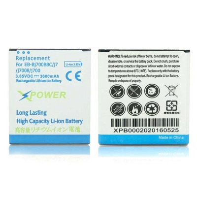 3600mAh Li-ion Battery Compatible for Samsung Galaxy J7 - White + Blue