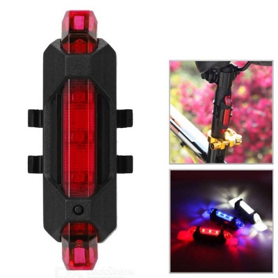 USB Charged 4-Mode Red Light 5-LED Bicycle Lamp - Red
