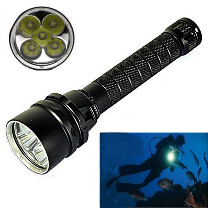 KINFIRE  5-L2-LED 3500lm Dimming Diving Flashlight - Black (2 * 18650)