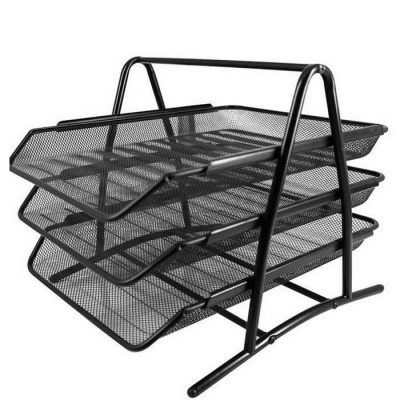 9181 3-Layer Sort Out Data Frame Metal Mesh Files Rack - Black