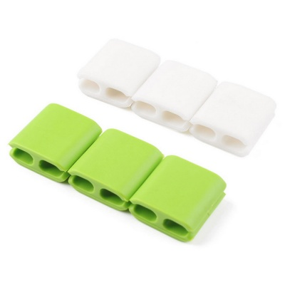 Silicone Headphone Cable Clip Organizers - Green + White (6PCS)