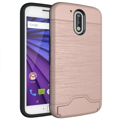 Shock-proof Back Case w/ Holder / Slot for MOTO G4/ G4 Plus - Pink