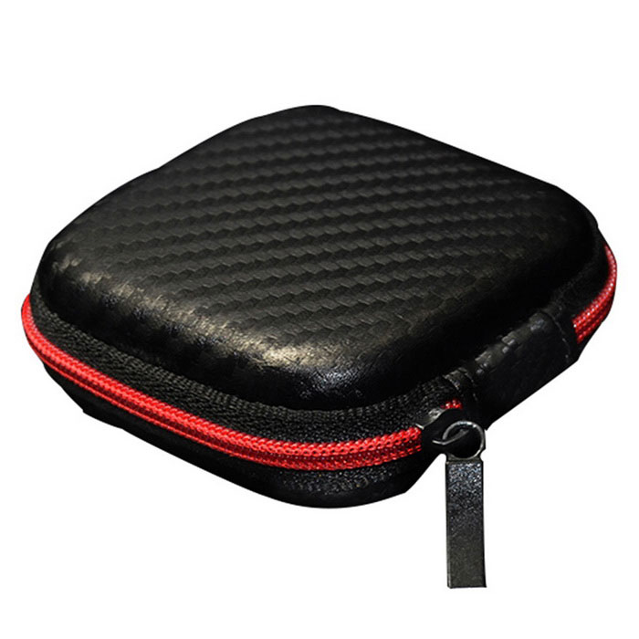 KZ Leather Small Headset Digital Accessories Storage Bag - Black
