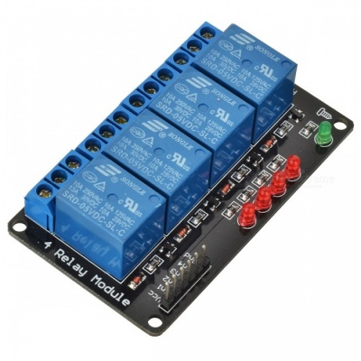 4-Channel 5V Opto-isolator Relay Module High Level Trigger - Blue