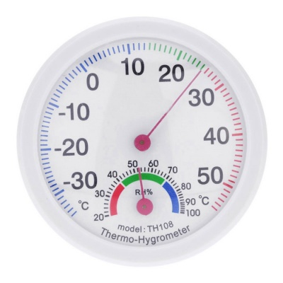 -35~55°C Mini Indoor Analog Thermometer - White