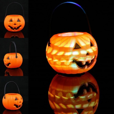 Halloween Pumpkin Candy Jar LED Lantern Toy for children - Orange