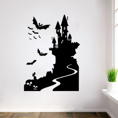 Removable DIY 3D Bat Castle Decorative PVC Wall Sticker - Black