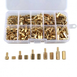 Hengjiaan 300Pcs M3 4-12mm Brass Hex Column Standoff Spacer Screw Nuts
