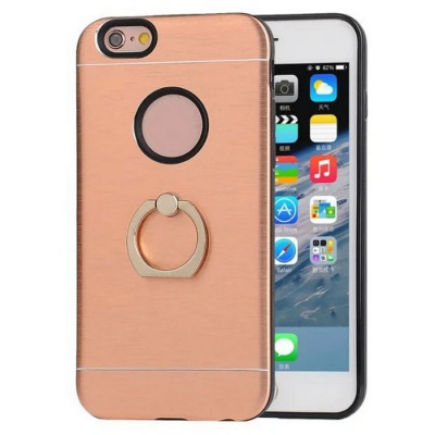 TPU Back Case w/ Holder Ring for IPHONE 6 / IPHONE 6S - Rose Gold