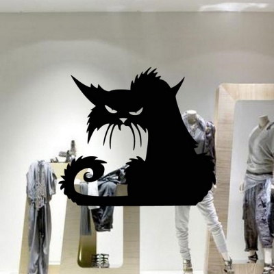 Removable DIY 3D Halloween Cat Decorative Wall Sticker - Black