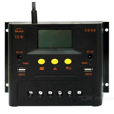 UE5048 PWM Solar Charge Controller 48V 50A with LCD Display - Black