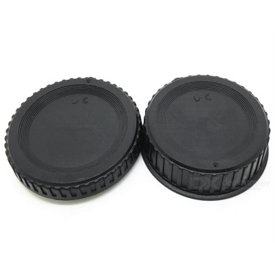 Camera Body Cover + Rear Lens Cap Set for Nikon SLR Camera - Black