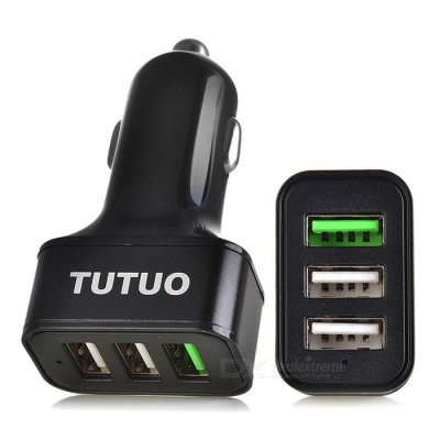Tutuo QC-115 QC3.0 3-Port USB Quick Car Charger for Mobile Phone