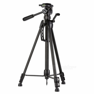 Portable Aluminum Alloy Tripod with Pouch for DSLR / DVR - Black