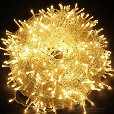 36W 600-LED Warm White Light 100m Twinkle String Lights - Transparent