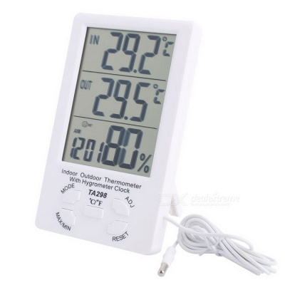 "4.4"" LCD Indoor Outdoor Digital Temperature Humidity Meter with Probe"