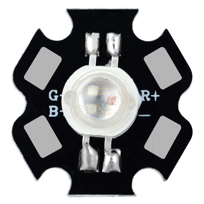 3W High Power RGB Multicolored Light LED Star Base - Black