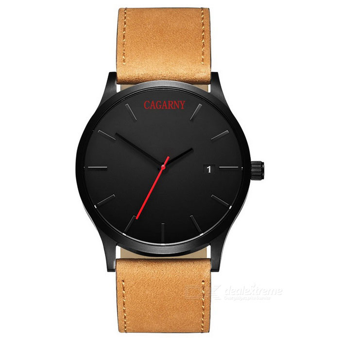 CAGARNY 6850 Men's Quartz Watch w/ Date Display - Black + Brown