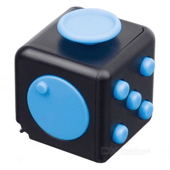 Fidget Dice Cubic Toy for Focusing / Stress Relieving - Black + Blue