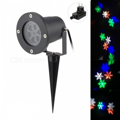 4W 6-LED Snowflake Projector RGB + Neutral White Light for Christmas