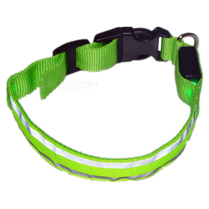 Nylon Ribbon + 2-LED Green Light Reflective Pet Collar - Green + White
