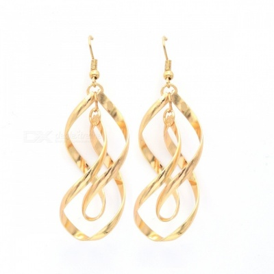 Fashion Gold-plated Double Wave Dangle Earrings - Golden (Pair)