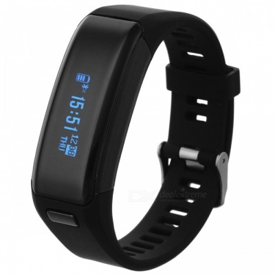 "NO.1 F1 0.91"" IP68 Smart Bracelet w/ Heart Rate Monitor 230mAh - Black"