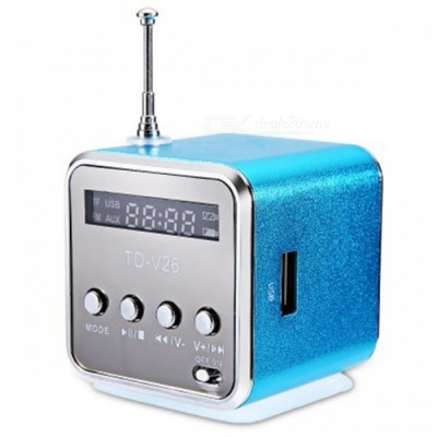 TD - V26 Mini Portable LCD Sound Speaker w/ FM Radio - Blue