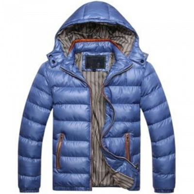 Men Slim & Thicken Jacket Coat w/ Removable Hooded - Blue (Size: XXL)