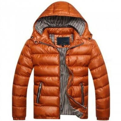 Men Slim Thicken Jacket Coat w/ Removable Hooded - Golden Yellow (L)