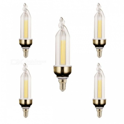 YWXLight E14 4W 2-COB LED Cold White Candle Lamps (5 PCS)