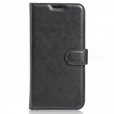PU Leather Wallet Case w/ Card Slots for Xiaomi Redmi 3X - Black