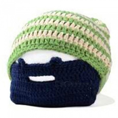 Outdoor Sports Winter Men's Beard Covered Knit Hat - Green + Blue