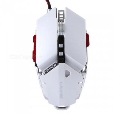 LUOM G50 4000dpi LED Optical USB Wired Mechanical Gaming Mouse - White