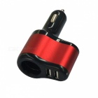 New Dual USB 3.1A Car Charger w/ Cigarette Lighter Hole - Red + White
