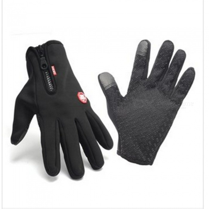 Touch Windproof Riding Outdoor Sports Full Finger Gloves - Black (M)